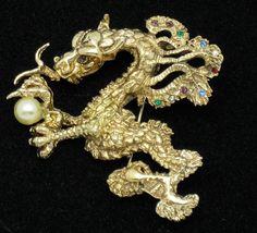 Large Rare Vintage 1960's CYVRA Fantasy Figural Dragon Brooch