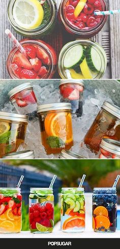 Fruit water is a great way to ensure you're getting the daily recommended amount of H2O. Here are some creative combos to try!