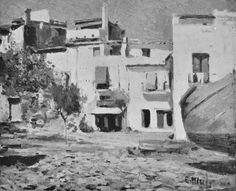 Eliseo Meifrén Roig. Platja gran. Casas de Cadaqués, Girona. Óleo sobre lienzo. Firmado. Bernardino de Pantorba, 1942.