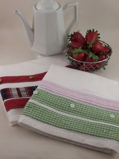 Tea Towels  Upcycled Dress Shirt  Shirt by BeaUniqueDesigns, $14.00