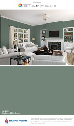 I found this color with ColorSnap® Visualizer for iPhone by Sherwin-Williams: Rookwood Blue Green (SW 2811).