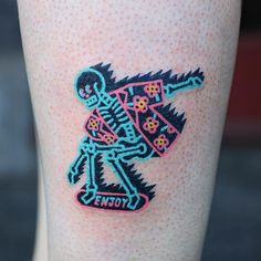Skateboarding Skeleton tattoo by Zzizziboy #zzizziboy #cutetattoos #newschool #color #fluorescent #hawaiinshirt #skeleton #skateboard #death #skull #enjoy #text #skateboarding #graphicart #popart