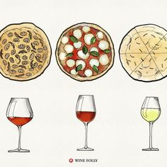 The best pizzas in America pay homage to classic Italian toppings and preparation methods. Here are 6 classic Italian pizzas paired with wine. Italian Pizza Toppings, Pizza Vino, Wine And Pizza, Authentic Italian Pizza, Wine Folly, Wine Poster, Wine Deals, Wine Quotes, Stemless Wine Glasses