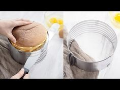 Our Baking Goods Cake Slicer is a MUST HAVE item for anyone who loves and enjoys baking! This easy to use cake slicer is the ideal tool for making round cakes. It's easy to expand or shrink the diameter of the rings so that you can make your own cakes in Diabetic Cake Recipes, Sugar Free Chocolate Cake, Cake Slicer, Baking Gadgets, Fluff Desserts, Coffee Shop Interior Design, Cooking White Rice, Tasty Kitchen, Small Cake