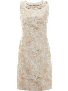 Gold jacquard shift dress