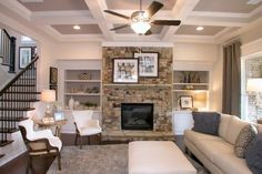 Gorgeous family room at Sterling on the Lake - Tipton Homebuilders Flowery Branch, White Decor, Building A House, Gallery Wall, Floor Plans, Community, Fire, Places, Family Rooms
