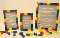 Lego Frames 5x7 as favors with a thank you note inside with a promise of sending them a 5x7 pic of them from the photo booth