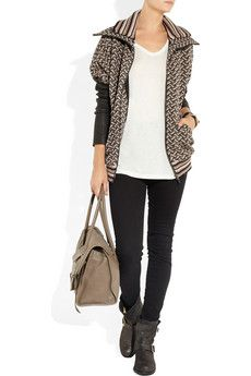 Love this! Leather-paneled crochet-knit jacket by Missoni