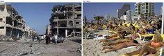 Tel Aviv (on the right) VS Gaza (on the left)!!