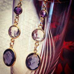 Purple Amethyst Earrings  February Birthstone by IrkaDesign