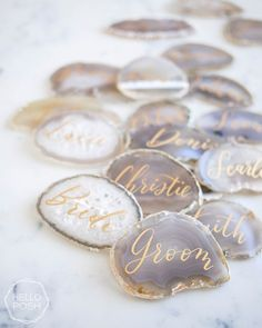 Items similar to Light gray agate escort cards. name tags wedding place cards agate slices light gray white stone decor on Etsy Grey Wedding Theme, Sage Green Wedding, Wedding Colors, Dream Wedding, Wedding Flowers, Nautical Wedding, Trendy Wedding, Wedding Dresses, Wedding Places