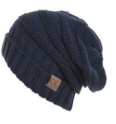 Unisex Soft Stretch Oversized Knit Slouchy Beanie (Navy) – Niobe Clothing