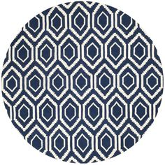 Safavieh Handmade Moroccan Chatham Dark Blue/ Ivory Wool Area Rug (7' Round) - Overstock™ Shopping - Great Deals on Safavieh Round/Oval/Square