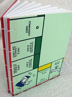 Hand-sewn Notebook, Journal made from London Monopoly Board Game
