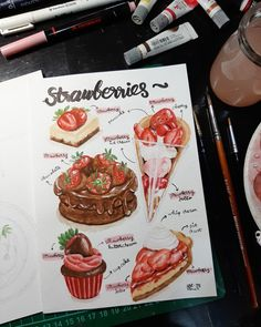 food illustration, watercolor Food Illustrations, Strawberry, Watercolor, Watercolor Painting, Strawberries, Watercolors, Watercolour