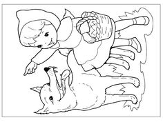 Coloring Pages For Kids, Coloring Sheets, Adult Coloring, Coloring Books, Colouring, Red Riding Hood, Little Red, 2 Colours, Cartoon Characters