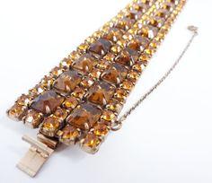 Vintage Amber Rhinestone Bracelet 1940s by PopAndGlamVintage