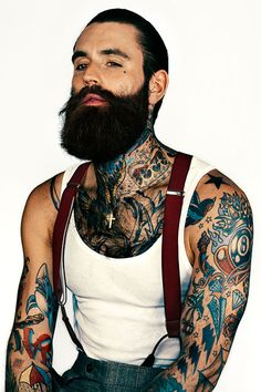 """Beauty Secrets From Male Models #refinery29  http://www.refinery29.com/male-models-grooming-products#slide7  Ricki HallThere's nothing like a bearded-and-tatted dude to shake up a world of pretty boys. But, don't be fooled by Hall's rugged looks — he's the most regimented of this bunch. """"There's no excuse or room to be sloppy with your skin regimen,"""" he says. """"I'm very strict with mine. Hall's full routine consists of Kiehl's exfoliating scrub, the Clarity Toner, a line-reducing concentrate…"""