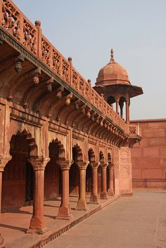 Red sandstone walkways in Agra, India