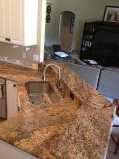 Juparana Nambia Granite high bar with single bowl premium sink
