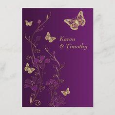 Butterfly Wedding Theme, Butterfly Wedding Invitations, Butterfly Flowers, Purple Flowers, Butterflies, Purple And Gold Wedding, Purple Gold, Autumn Wedding, Spring Wedding