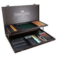 FABER CASTELL PITT Monochrome Woodcase Set Assortment - Pencils  Pastels 112970