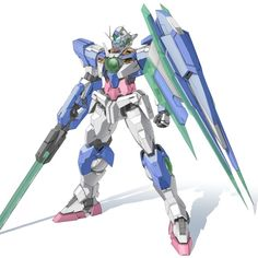 "GNT-0000 00 Qan[T] (aka 00Q, 00 Qan[T], pronounced ""Double-Oh Quanta""), is the successor unit to the GN-0000+GNR-010 00 Raiser in Mobile Suit Gundam 00 The Movie -A wakening of the Trailblazer-. The unit is piloted by Setsuna F. Seiei."