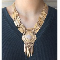 Gold Statement Necklace Gold statement necklace with beautiful center rock Serval Fashion Jewelry Necklaces