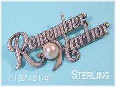 "Remember Pearl Harbor - Sterling Silver Pearl 2 1/4"" Brooch Pin - Military Army Navy Hawaii Coast Guard Naval Patriotic - FREE SHIPPING by FindMeTreasures on Etsy"