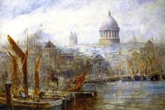 The Pool of London (Barges, Pool of London) - by  Frederick McCubbin (1907). #PaintedLondon