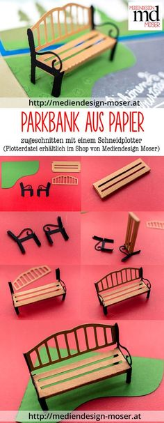 Park Bench, cutting files for cutting machine (Silhouette Cameo, Brother ScanNCut). easy to make, … Silhouette Cameo, Machine Silhouette, Fairy Furniture, Diy Furniture Plans, Brother Plotter, Kids Cubbies, Summer Centerpieces, Exploding Box Card, Making A Model