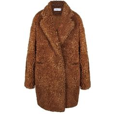 Fluffy Teddy Bear Coat ❤ liked on Polyvore featuring outerwear, coats, coats & jackets, brown faux fur coat, teddy bear coat, brown coat, double breasted coat and fake fur coats