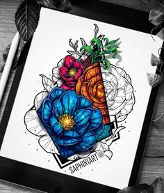 Traditional Drawings and Digital Art Coloring. Click the image, for more art by Victoria Müller Geometric Drawing, Floral Drawing, Mandala Drawing, Geometric Tattoos, Geometric Art, Tattoo Sketches, Tattoo Drawings, Art Drawings, Tatoo Manga