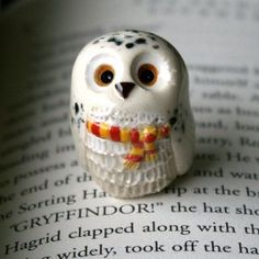 Hedwig the Snowy Gryffindor Owl: Harry Potter Inspired Owlery Clay Miniatures by calicoowls on Etsy