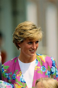August 4, 1990. Princess Diana wears a pink jacket to the Queen Mother's 90th birthday at Clarence House...