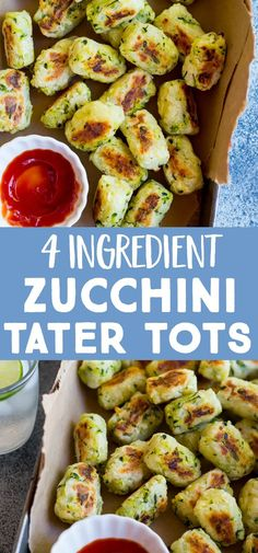 healthy 4 Ingredient Zucchini Tater Tots are made with just potato, zucchini, olive oil and salt! You can make a big batch to freeze so you can always have them on hand for an easy side dish or snack! Perfect for kids! Vegan and gluten free Vegan Zucchini Recipes, Parmesan Zucchini Chips, Zucchini Side Dishes, Vegan Side Dishes, Side Dishes Easy, Side Dish Recipes, Food Dishes, Vegetarian Recipes To Freeze, Vegan For Kids Meals