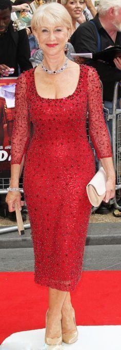 Sizzling...Helen Mirren in the Jenny Packham dress