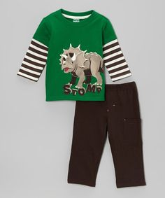 Loving this Green 'Stomp' Dino Layered Tee & Brown Pants - Infant on #zulily! #zulilyfinds