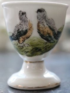 Limoges Antique Pedestal Egg Cup Hand Painted With Quail Pocillovy Coquetiers