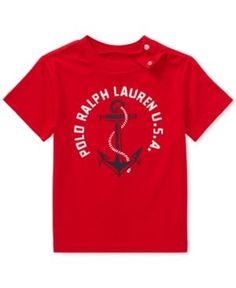 Ralph Lauren Anchor-Print Cotton T-Shirt, Baby Boys (0-24 months) - Red 18 months