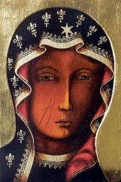 Matka Boska Częstochowska - Królowa Polski Human Head, Byzantine Icons, Hail Mary, Blessed Virgin Mary, Religious Icons, Be A Nice Human, Mother Mary, Our Lady, Madonna