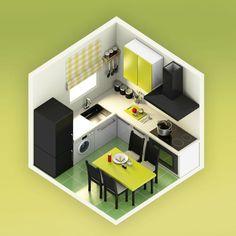 Isometric Model of Kitchen, Isometric art, isometric model render, Isometric Drawing, Isometric Design, Kitchen Interior, Kitchen Design, Kitchen Decor, Hobby Design, 3d Modelle, Game Room Design, Room Setup