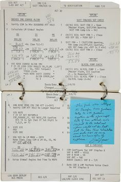 This is the Lunar Module Systems Activation Checklist Book of Apollo The handwritten numbers are part of the calculations made by Commander James Lovell, just two hours after a service module's oxygen tank explosion left them marooned in space. Apollo Space Program, Nasa Space Program, Programa Apollo, Apollo 13, Apollo Nasa, Apollo Missions, Moon Missions, Space Race, Man On The Moon