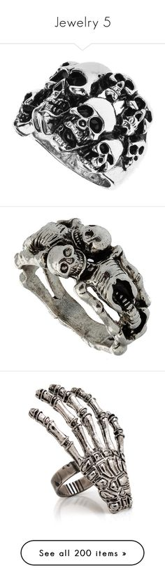 """""""Jewelry 5"""" by this-is-my-name-i-suppose ❤ liked on Polyvore featuring jewelry, rings, accessories, women, skull jewellery, skull ring, skull jewelry, skull head ring, skeleton jewelry and skeleton ring"""