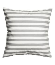 Check this out! Cushion cover in woven cotton fabric with printed stripes. Concealed zip. - Visit hm.com to see more.