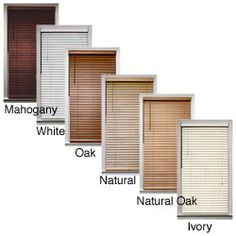 Bamboo 2-inch Window Blinds (39 in. x 64 in.) This will fit your living room window.  I like the mahogany color.
