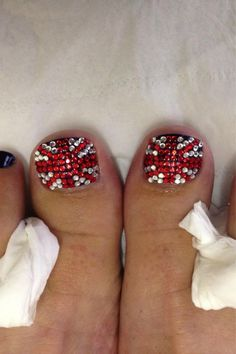 Gold medal for nail art! Patriotic crystals over Jessica Majesty Blue base.