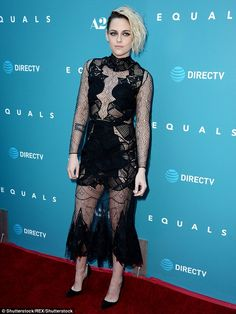 Kristen Stewart leaves little to imagination in revealing black lace gown as she hits the red carpet at premiere of new film Equals  | Daily Mail Online