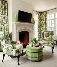 Laurent Cast Stone Fireplace Mantels - 48 - Old World Stoneworks, love the fabrics Traditional Decor, Traditional House, Traditional Bedroom, Stone Fireplace Mantel, Limestone Fireplace, Fireplaces, Green Rooms, Home Interior Design, Beautiful Homes