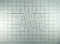 Voronoi: square grid, magnets A Voronoi tessellation with input points generated by the magnetic distortion of a grid of steel washers.